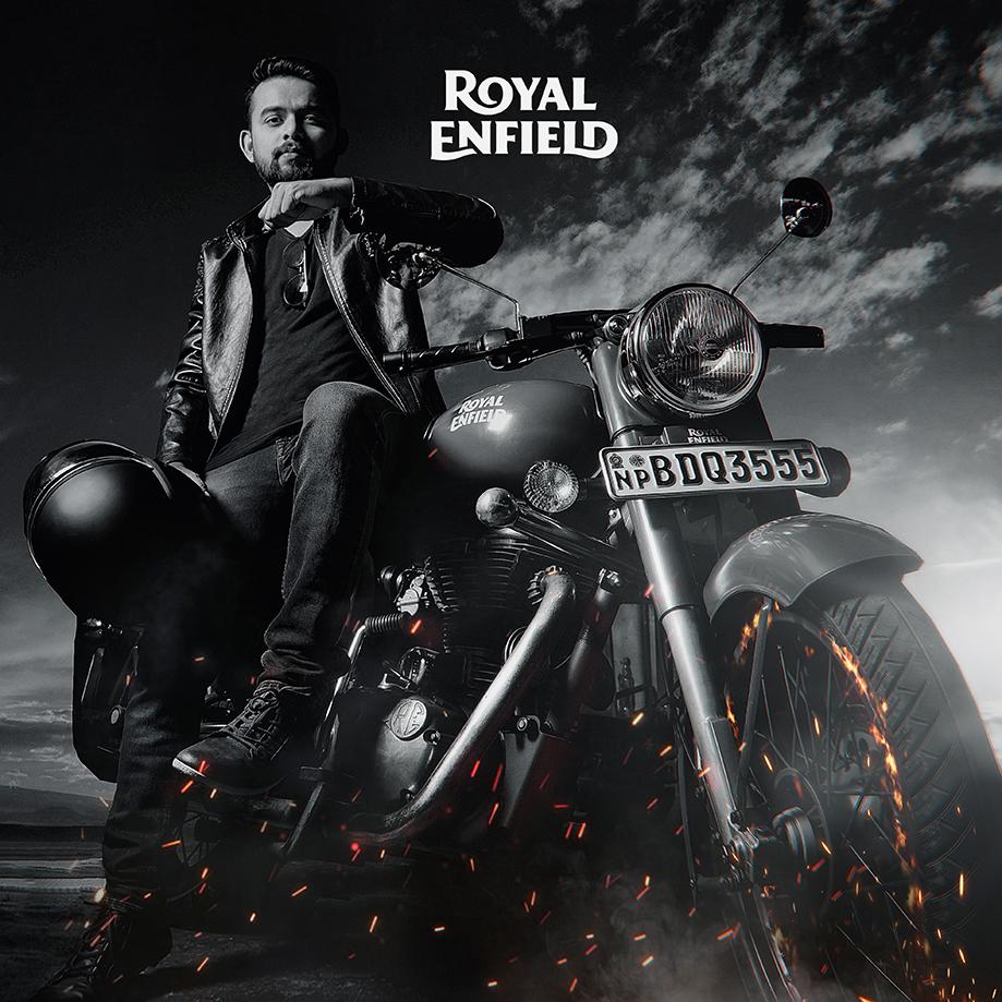 royal enfield bike in a dark sky background